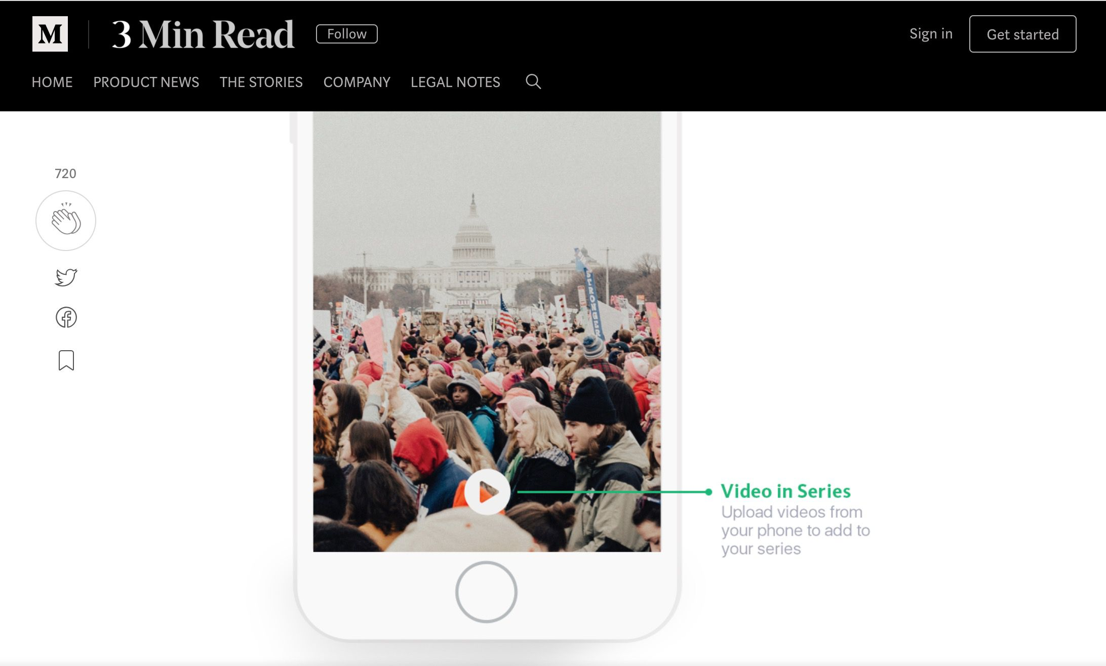 Medium's Video in Series web page