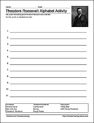 Theodore Roosevelt Alphabet Activity