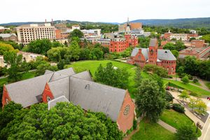 Roof top view of Cornell University campus with Barnes Hall and Sage Hall in the background.