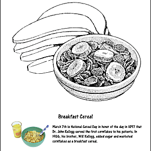 National Cereal Day Coloring Page