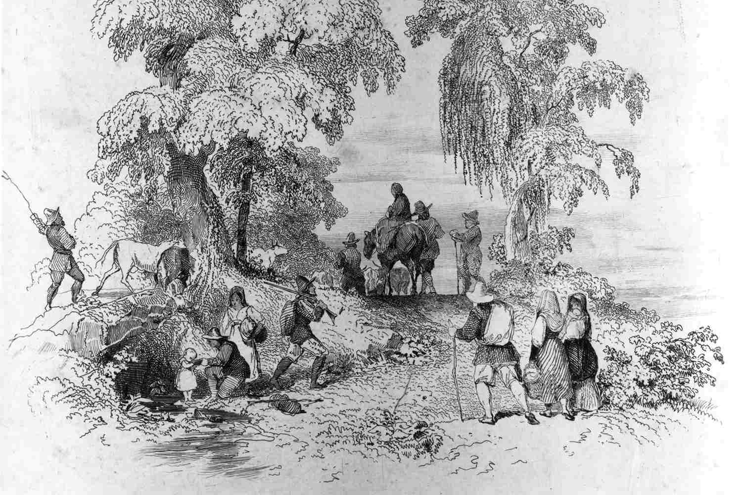 American Puritan reformer Thomas Hooker leads his followers to new homes in Hartford, Connecticut, 1636