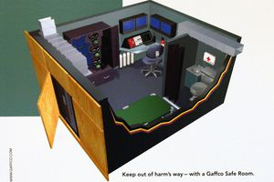 Keep out of harm's way -- with a Gaffco Safe Room. Sales illustration of a bullet and flame-resistant safe room, dollhouse view