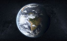 Globe of Earth with South America facing viewer