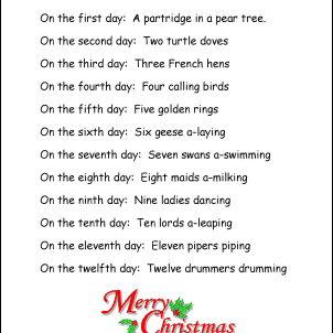 It is a photo of Unforgettable 12 Days of Christmas Song Lyrics Printable