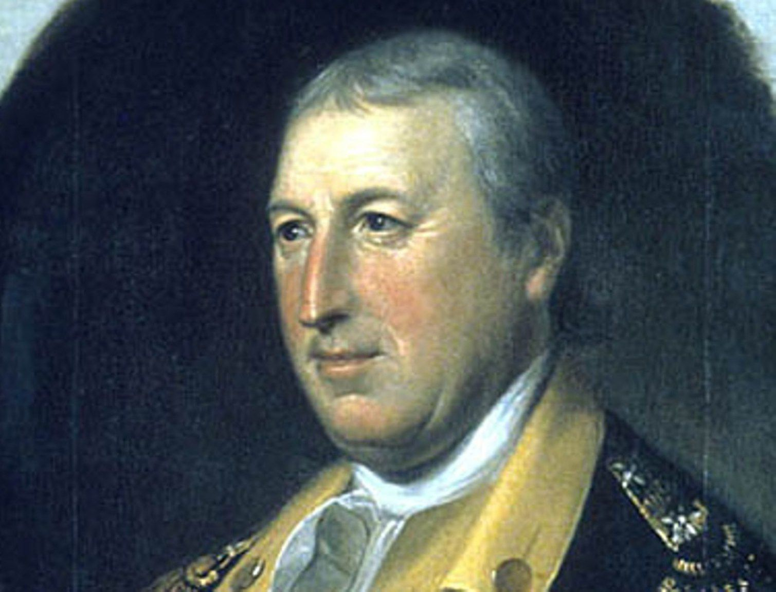 Major General Horatio Gates in blue Continental Army uniform.