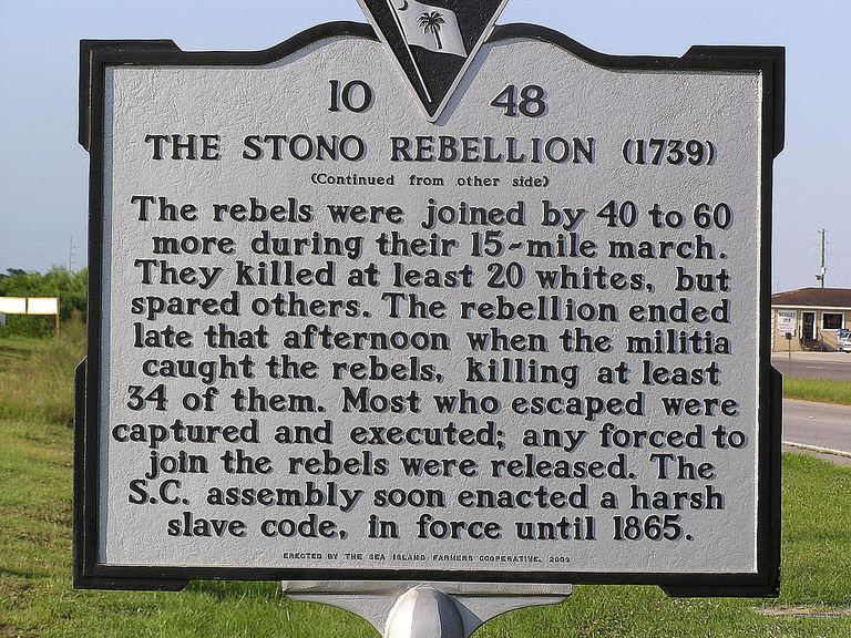 historical marker for the Stono Rebellion