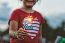 American girl with a sparkler