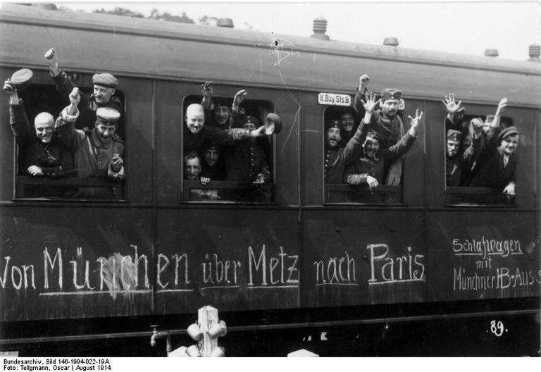 German soldiers in a railway car on the way to the front in August 1914.