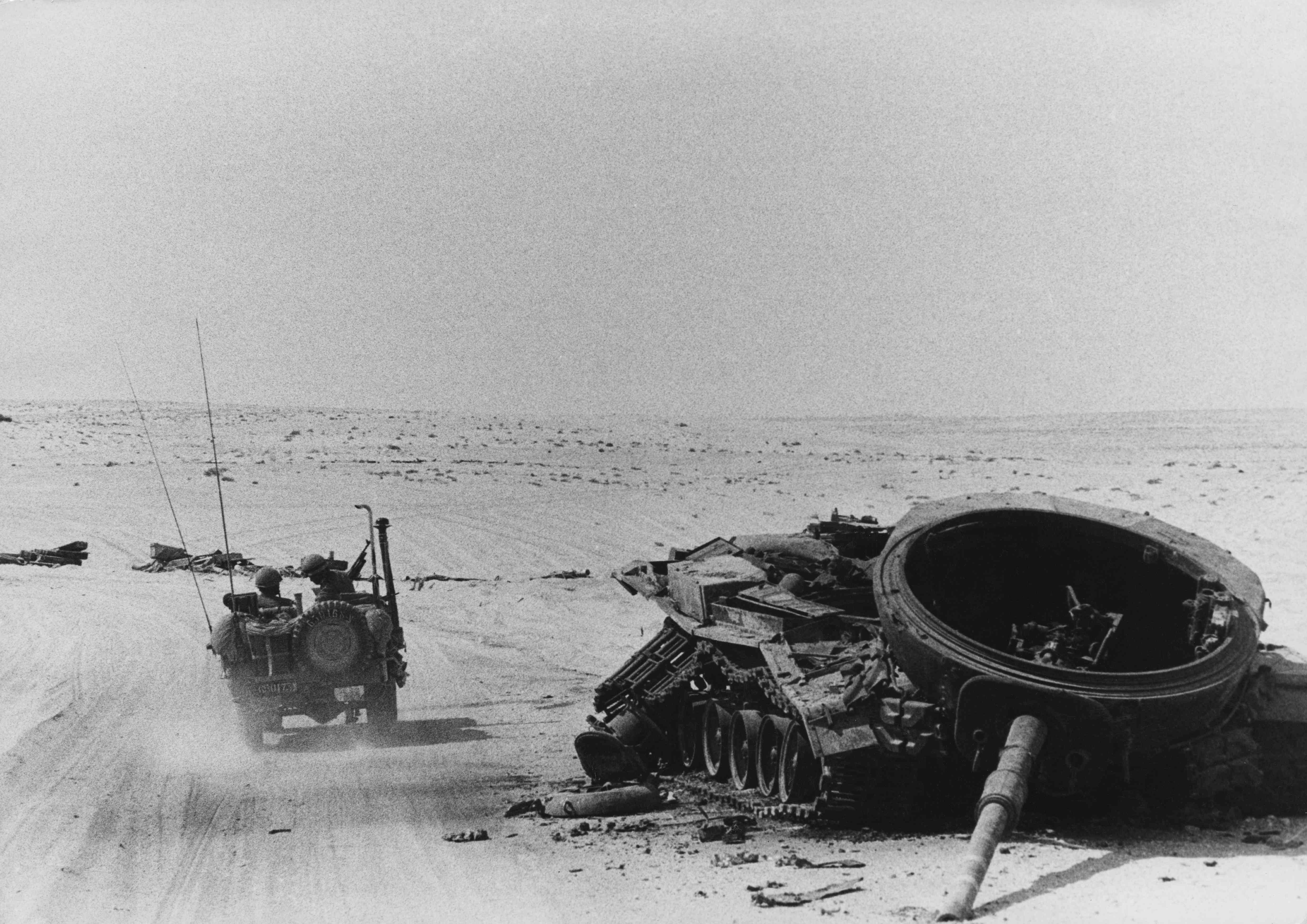 Wreckage of an Egyptian tank in the Sinai, 1973