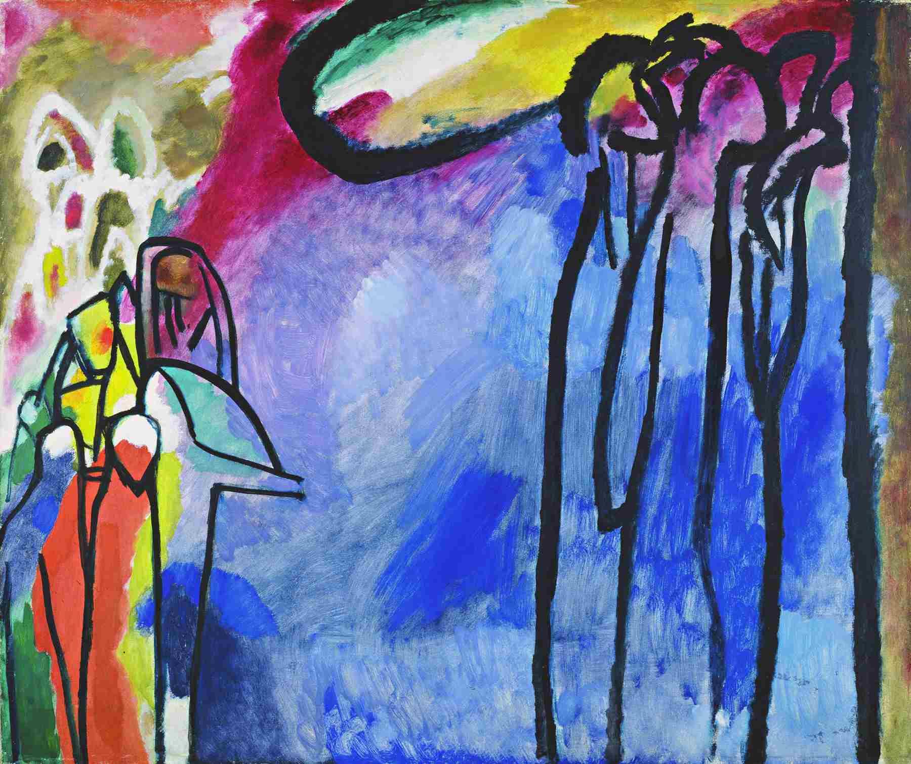Wassily Kandinsky (Russian, 1866-1944) Wassily Kandinsky (Russian, 1866-1944). Improvisation 19, 1911. Oil on canvas. 47 3/16 x 55 11/16 in. (120 x 141.5 cm). Gabriele Münter-Stiftung, 1957. Städtische Galerie im Lenbachhaus, Munich.