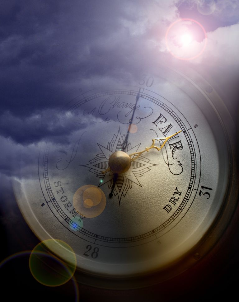 A barometer hidden among clouds and a sun