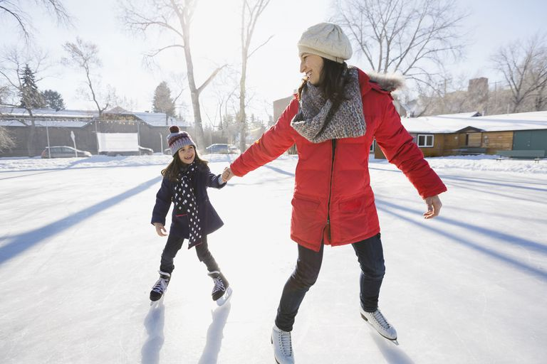 A mother and daughter ice skating.