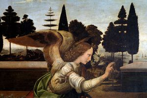 Detail of The Annunciation by Leonardo da Vinci