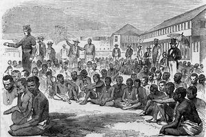 Black and white etching of enslaved Black Americans freed after the US Civil War