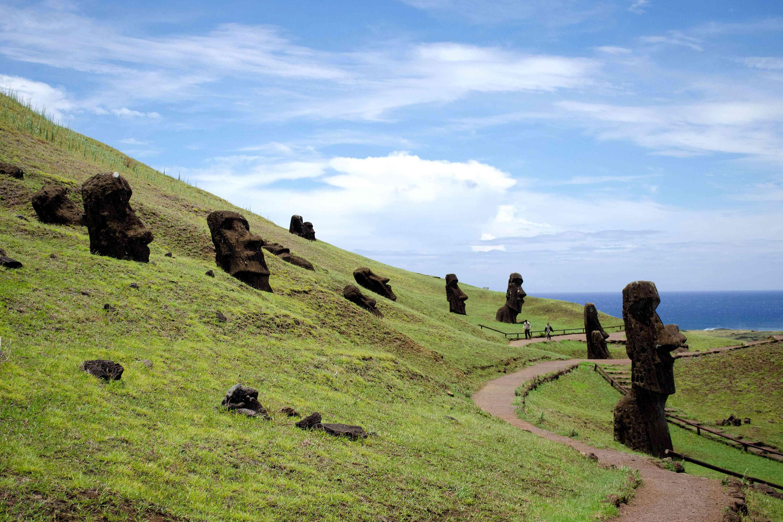 Moai along a road on Easter Island