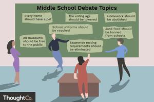 Illustration depicting a chalkboard with multiple debate topic ideas written on it.
