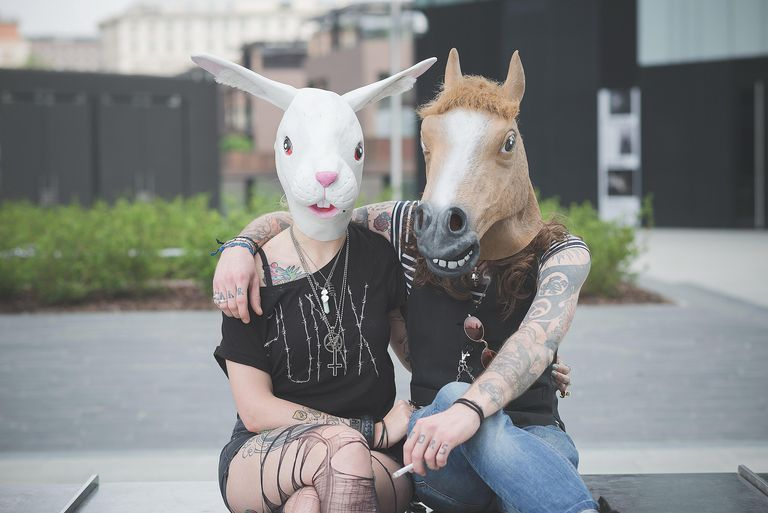 punk couple in masks