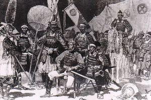 Saigō Takamori with his officers, at the Satsuma Rebellion