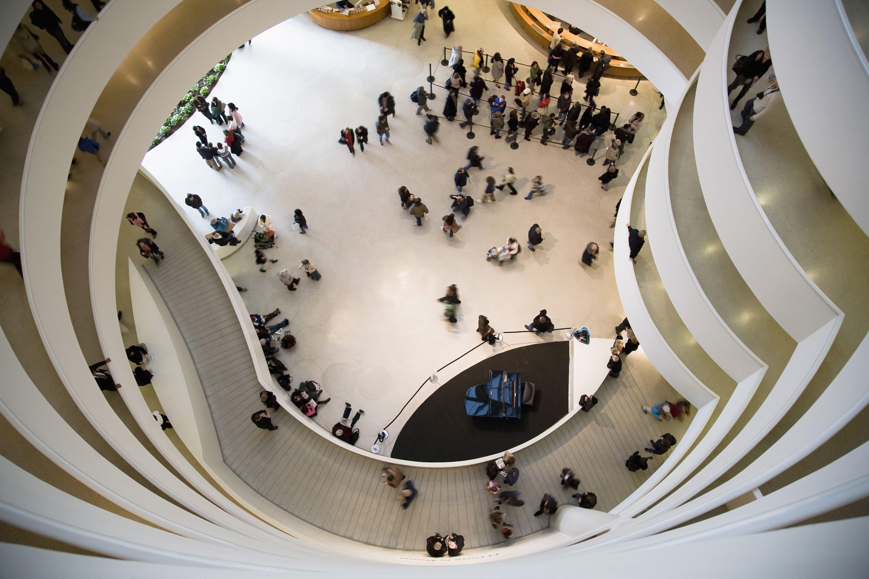 Overhead view of the Guggenheim Museum lobby