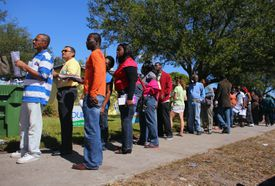 Voters in Florida waiting in long line to cast ballots