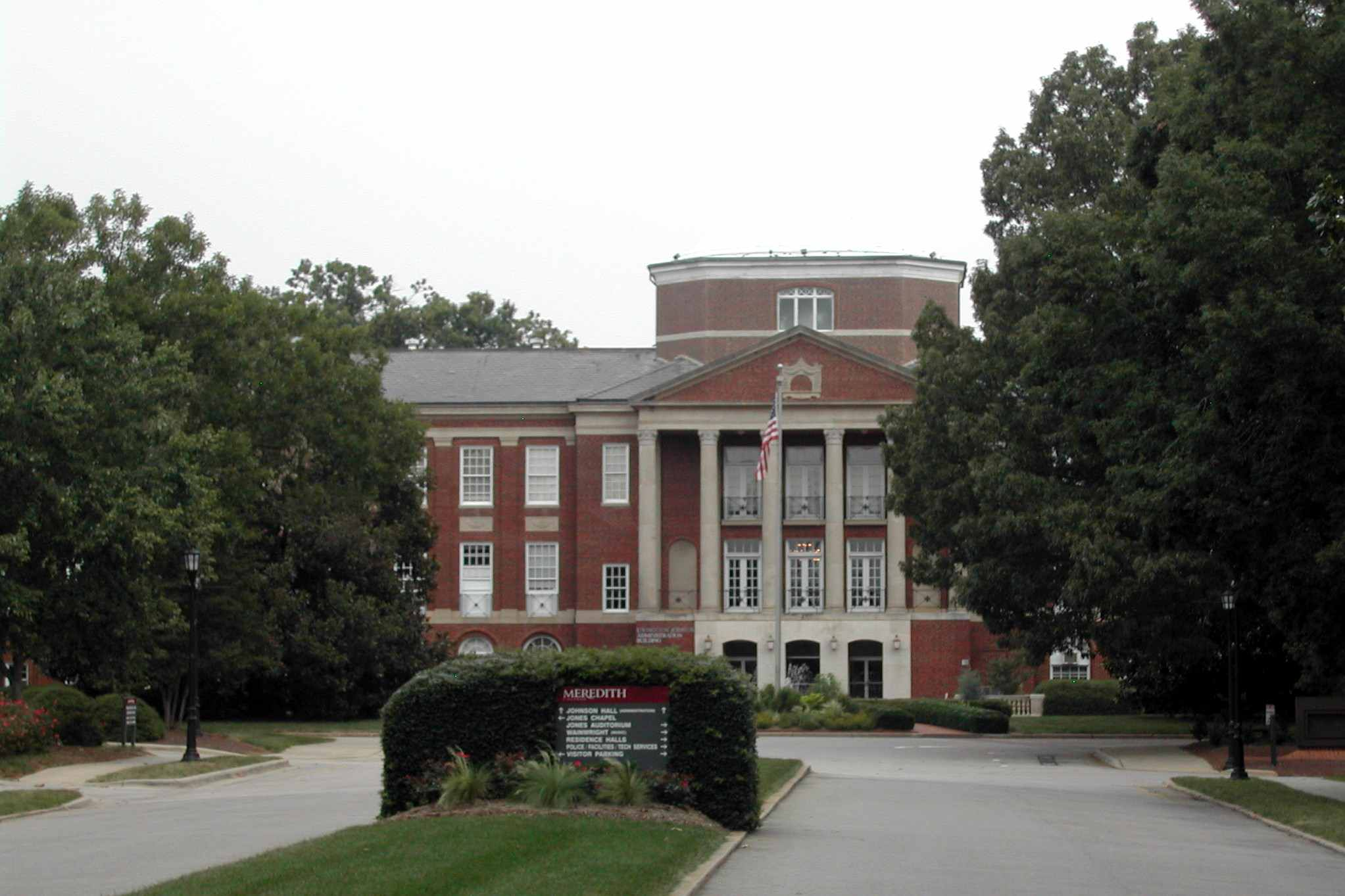 Johnson Hall, which greets anyone entering from the Hillsborough Street entrance of Meredith College
