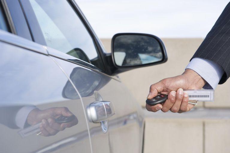 businessman using electronic key to open car door