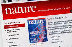 The internet homepage of the US scientific magazine Nature