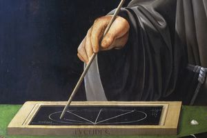 Painting of Euclid drawing on a slate