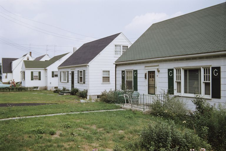 Line of White Homes in Suburbs