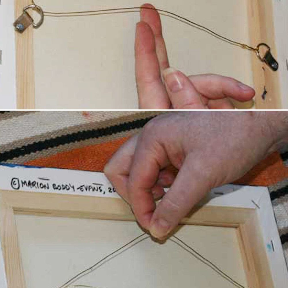 Give The Frame Hanging Wire A Little Slack Before Tying Knot