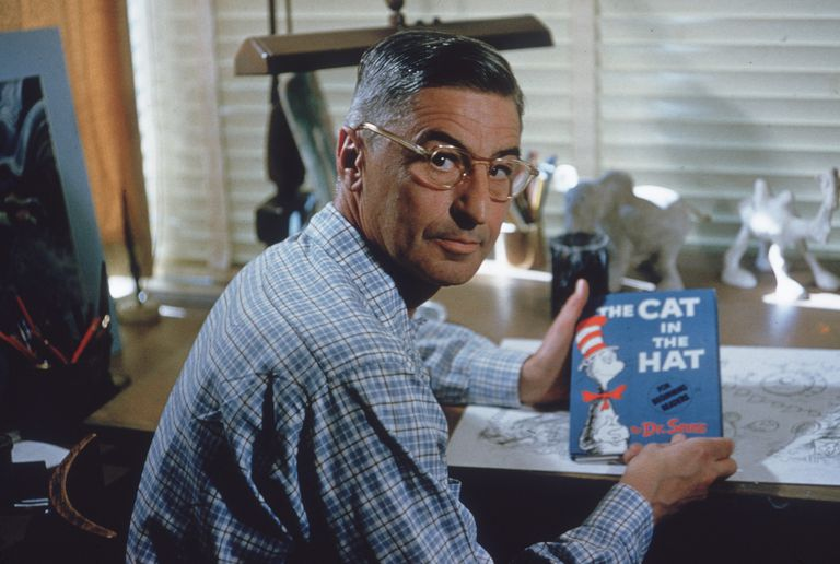 dr seuss holds the cat in the hat