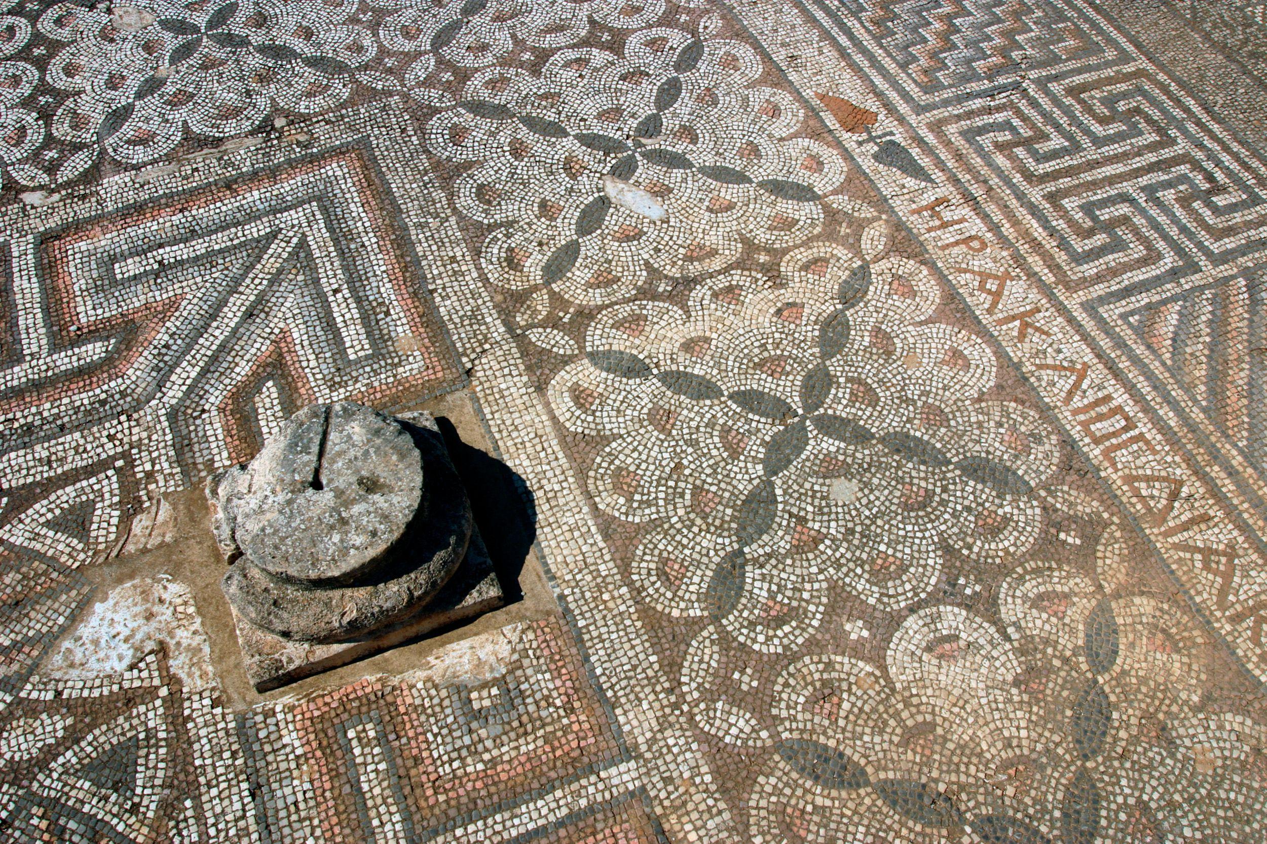 sol en mosaïque, ruines de la basilique de Ayia Trias, Famagouste, Chypre du Nord.