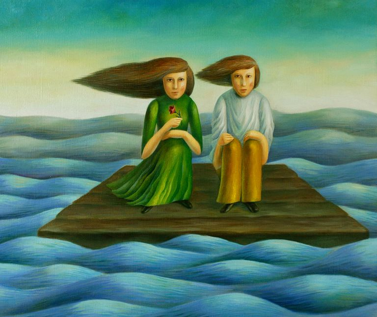 Painting of two people on a raft