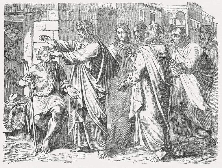 Jesus heals a man born blind (John, Chapter 9, 1-12). Woodcut engraving after a drawing by Julius Schnorr von Carolsfeld (German painter, 1794 - 1872), published in 1877.