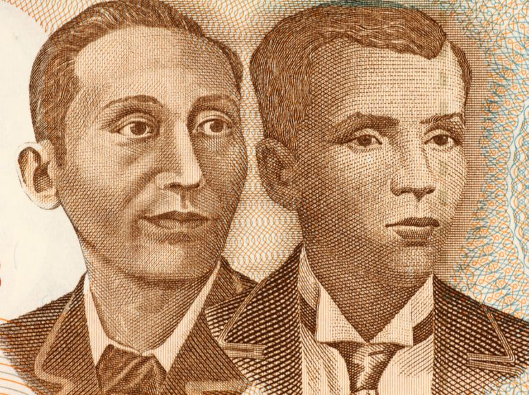 Apolinario Mabini and Andres Bonifacio on 10 Piso 2008 Banknote from Philipines. Revolutionary figure of the Philipines.