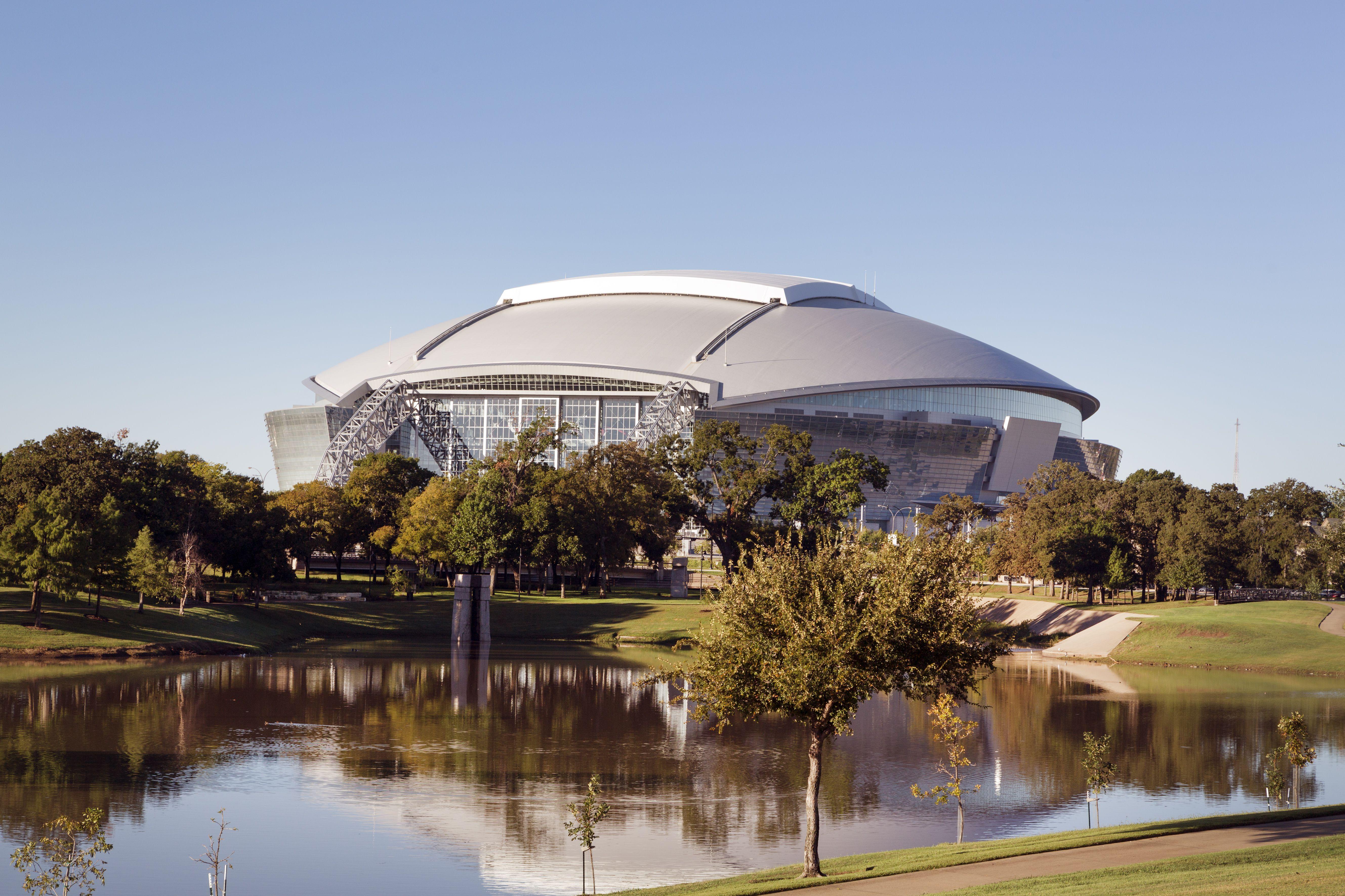Retractable dome and glass walls of Cowboys Stadium in Arlington, Texas