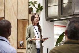 Businesswoman explaining plan