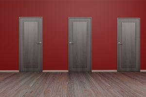Wall with wooden door