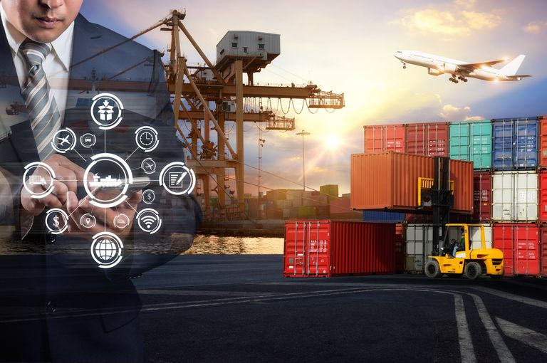 Businessman is pressing button on touch screen interface in front Logistics Industrial Container Cargo freight ship for Concept of fast or instant shipping, Online goods orders worldwide