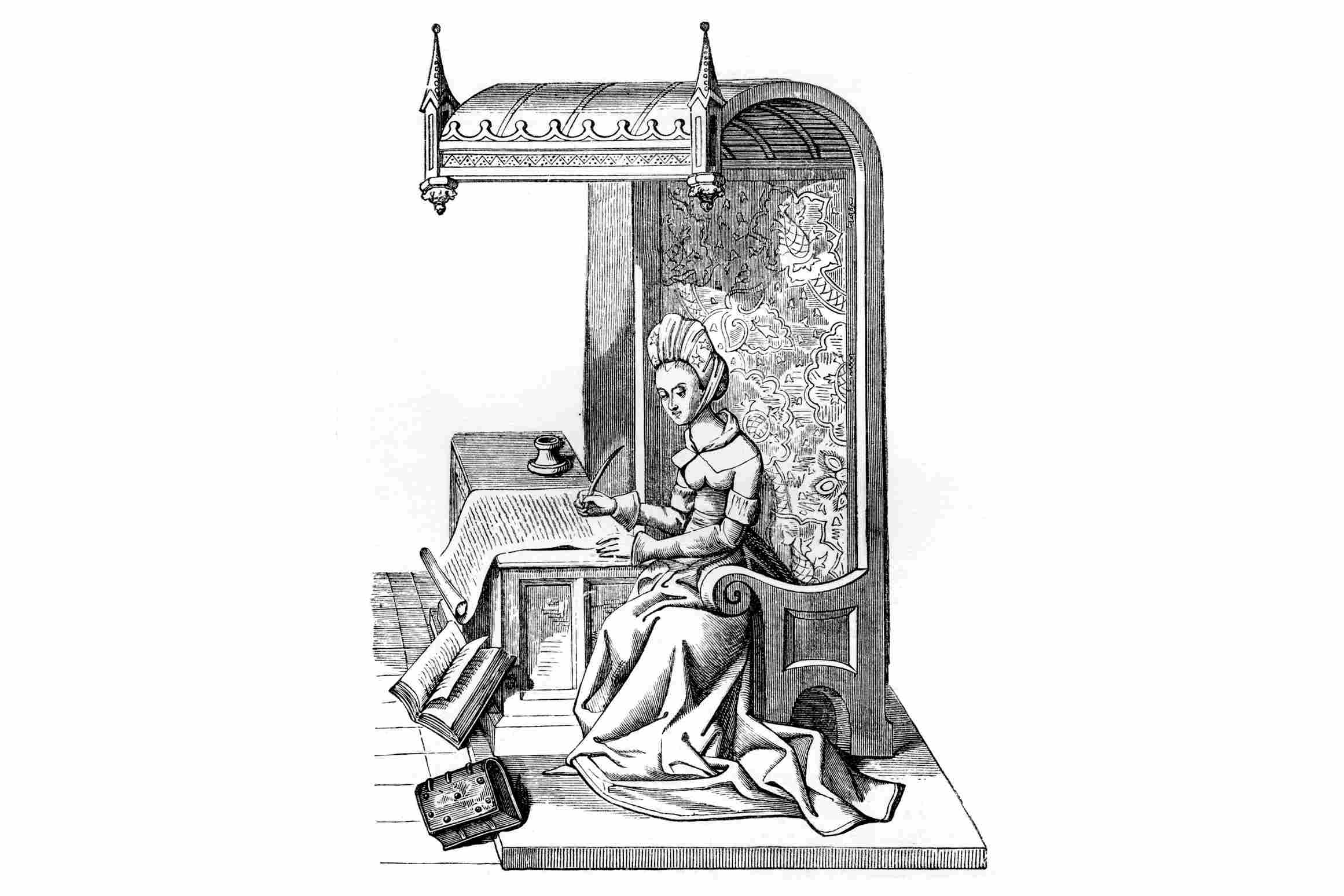 Christine de Pizan, seated on a chair in carved wood with back canopy, and tapestry of worsted or figured silk