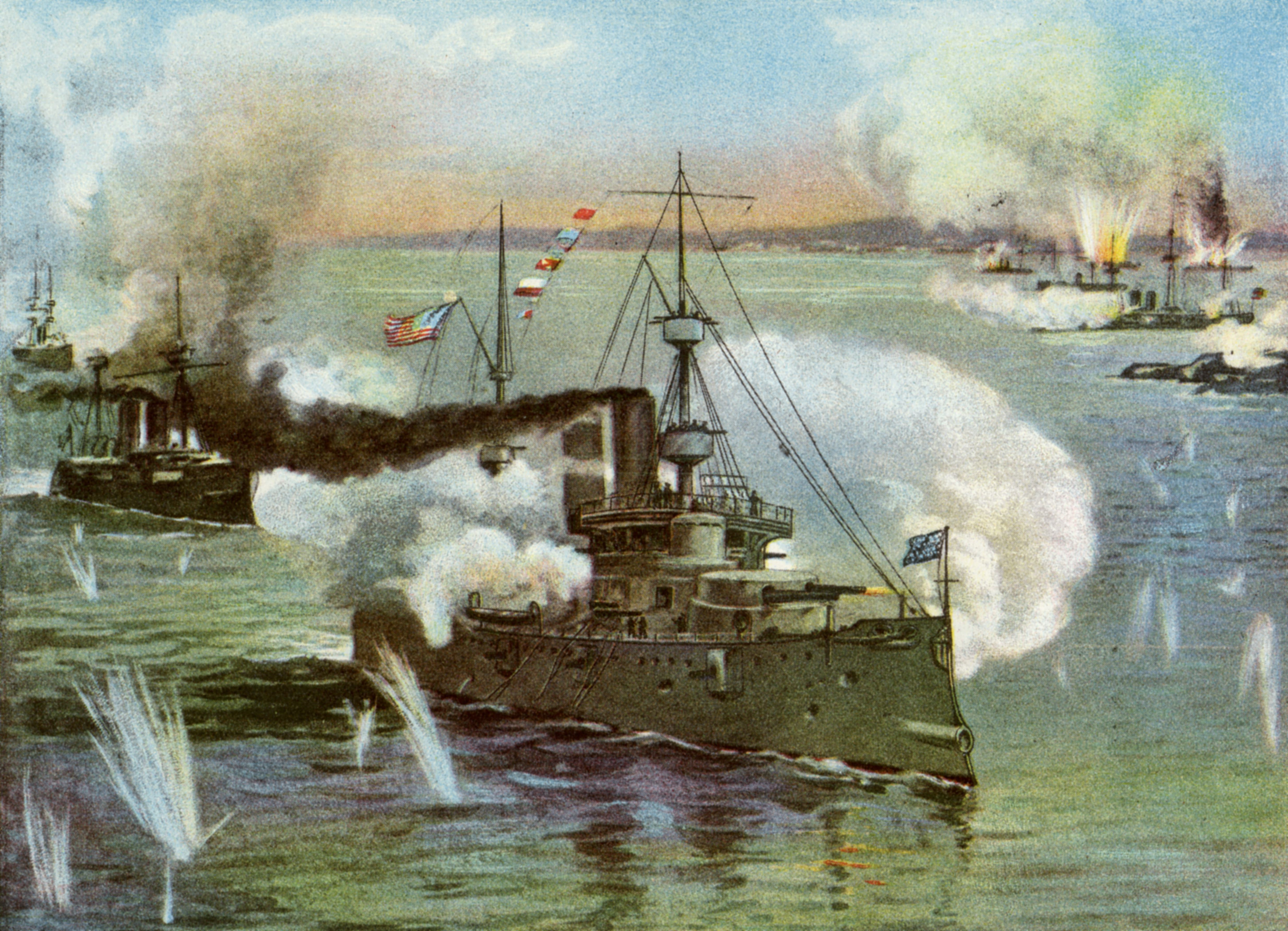 Battle of Manila Bay During the Spanish American War.