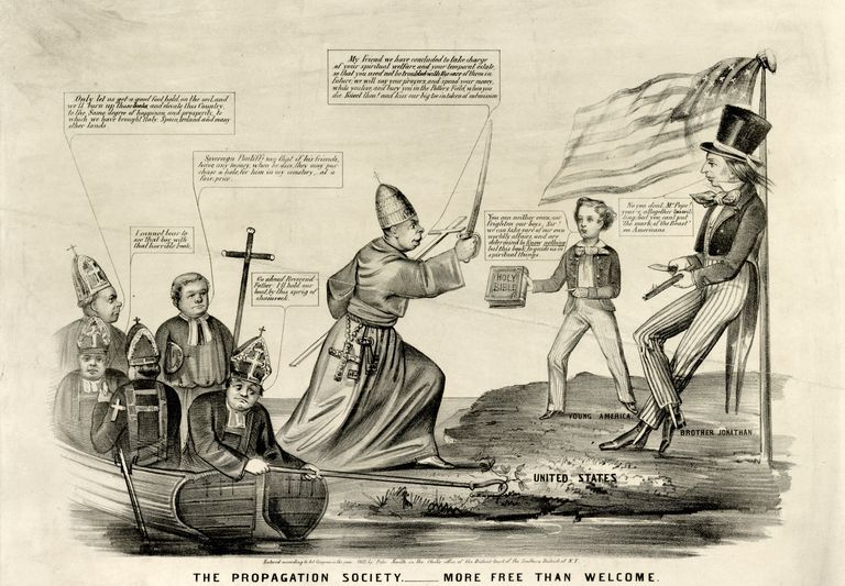 Anti-Catholic political cartoon showing members of the Know-Nothing Party