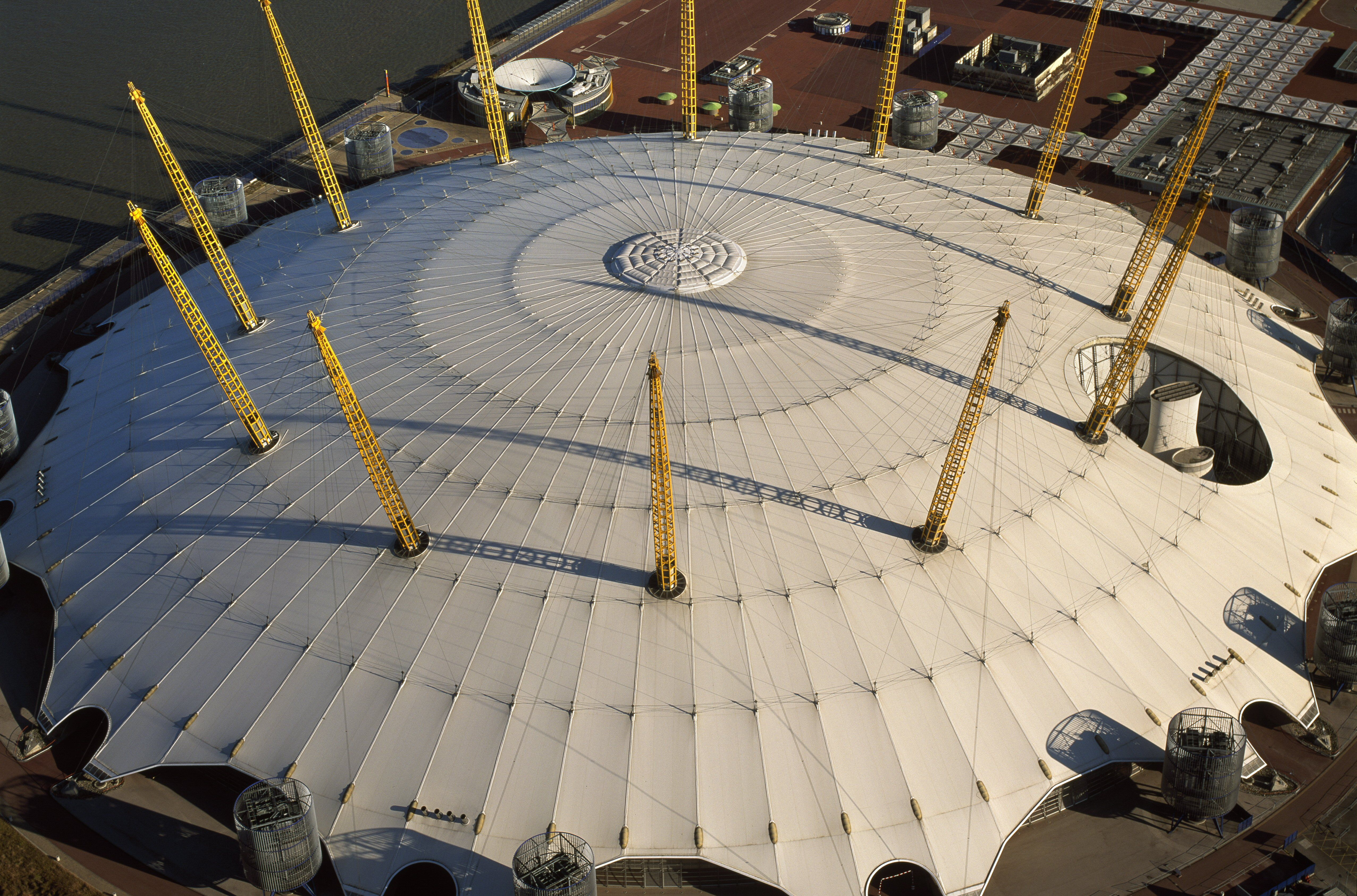 Tensile architecture with 12 support poles on the Millennium Dome in London, England