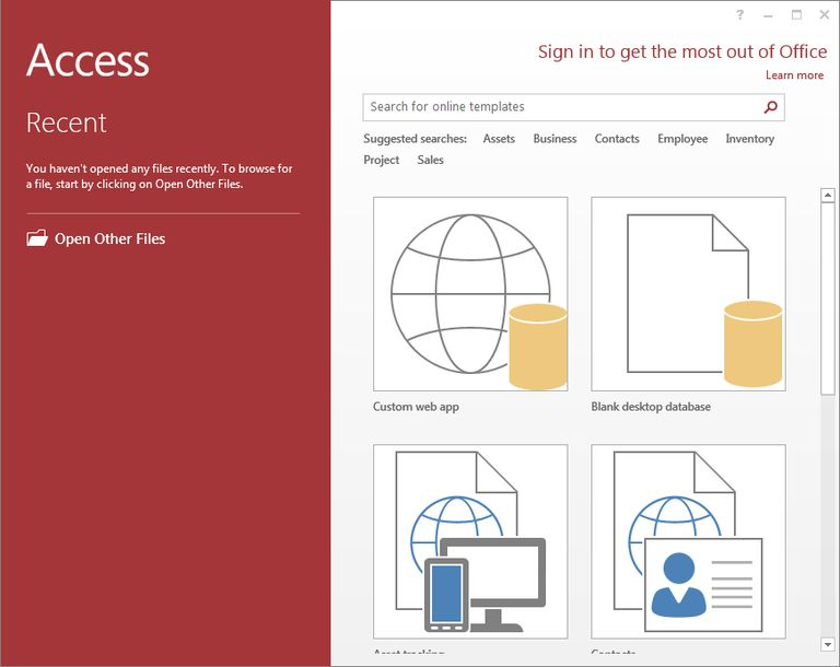 make a microsoft access 2013 database using a template