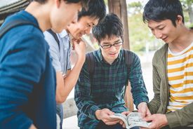 Japanese Students Reading Manga, Chion-ji Temple Park, Kyoto, Japan, Asia