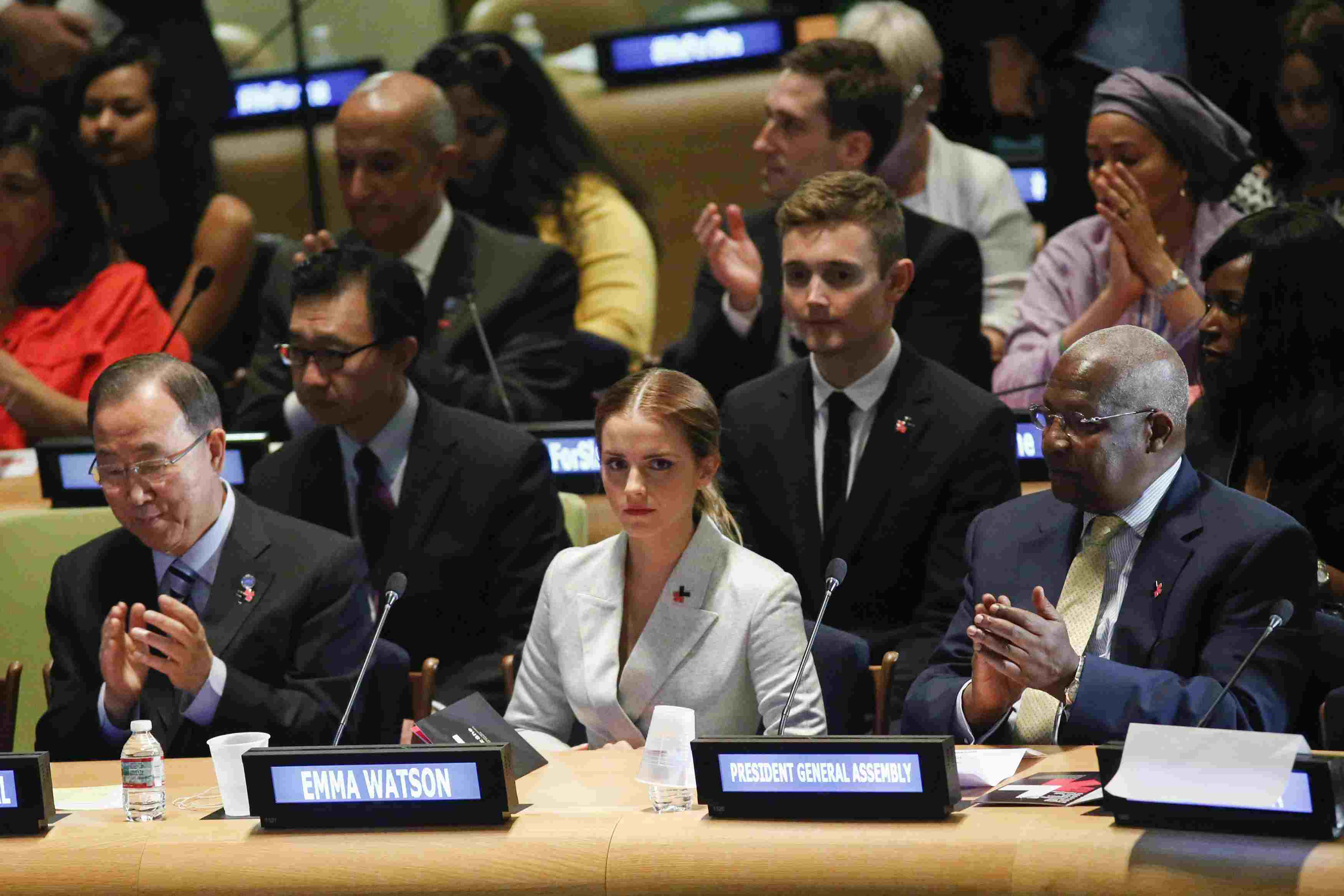 Emma Watson seated in the UN for the HeForShe Campaign Launch.