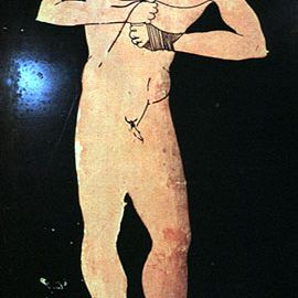Athlete With Gloves or Himantes. Attic Red-Figure Amphora, ca. 490 B.C.