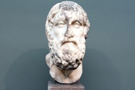 A Roman copy of a Greek original bust of Sophocles in white stone