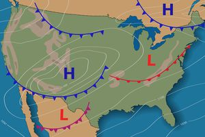 Meteorological weather map of the United States of America.
