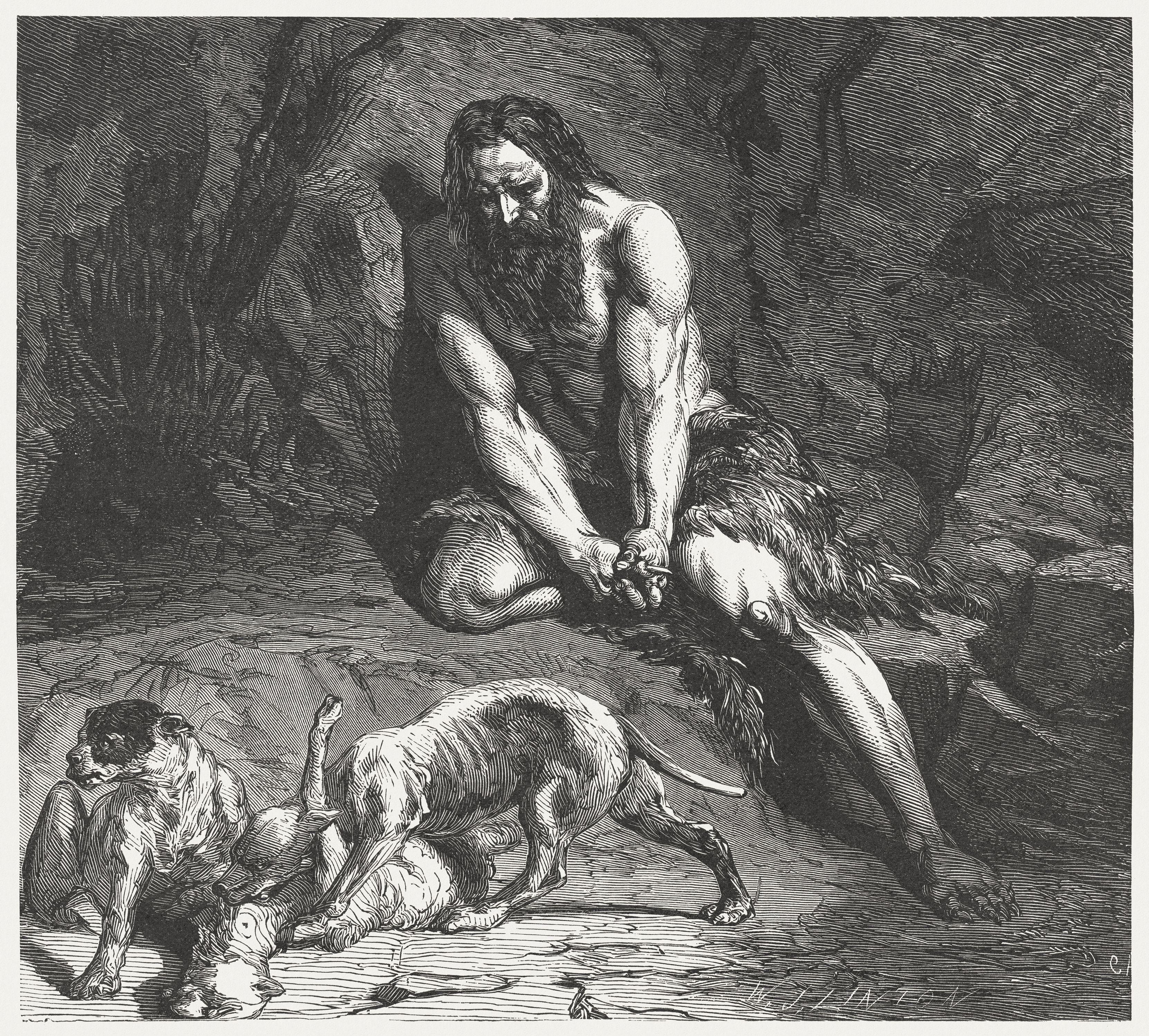 Nebuchadnezzar's dream comes true (Daniel 4,30), wood engraving, published 1886
